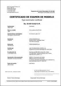 CERTIFICADO DE EXAMEN DE MODELO CR:161 Optimus Sonómetro UNE-EN 61672