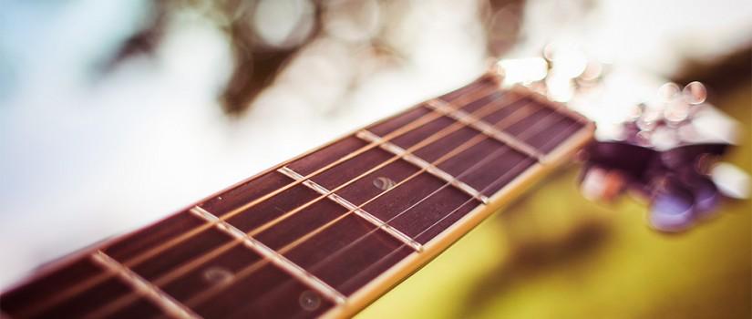 Close-up of a guitar fretboard