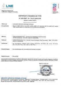 Cirrus Optimus LNE Approval Certificate IEC 61672-1:2014