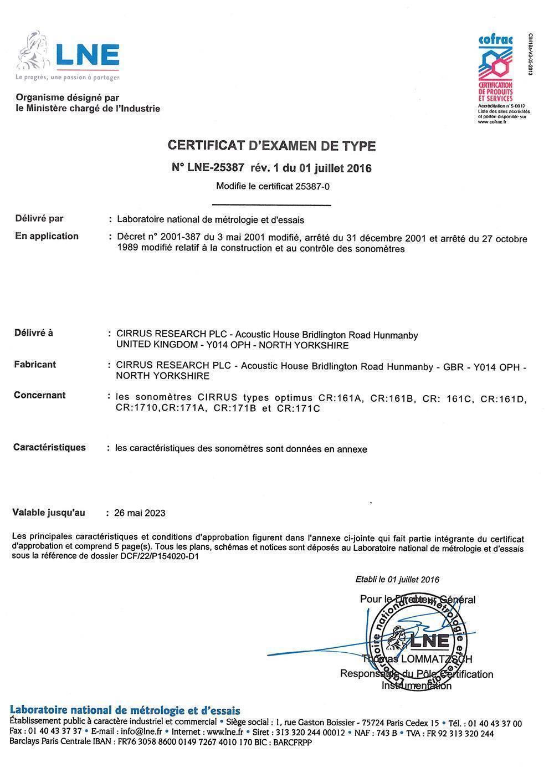 Cirrus optimus lne approval certificate iec 61672 12014 noisenews cirrus optimus lne approval certificate iec 61672 12014 1betcityfo Choice Image