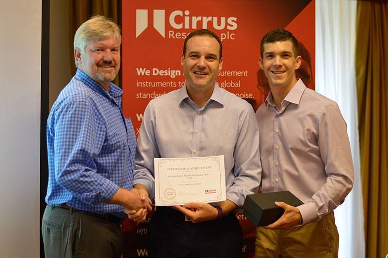 Jeff Griggs (left) and Luke Allen (right) of OHD receive the Gold Partner Award from Cirrus CEO Daren Wallis