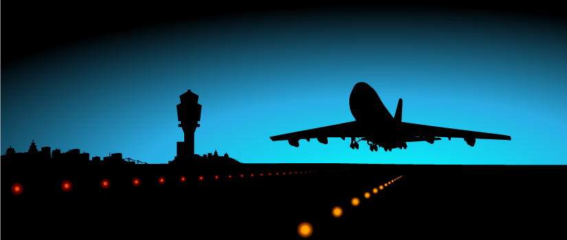 An image that shows the silhouette of an aircraft taking off at an airport at night time.