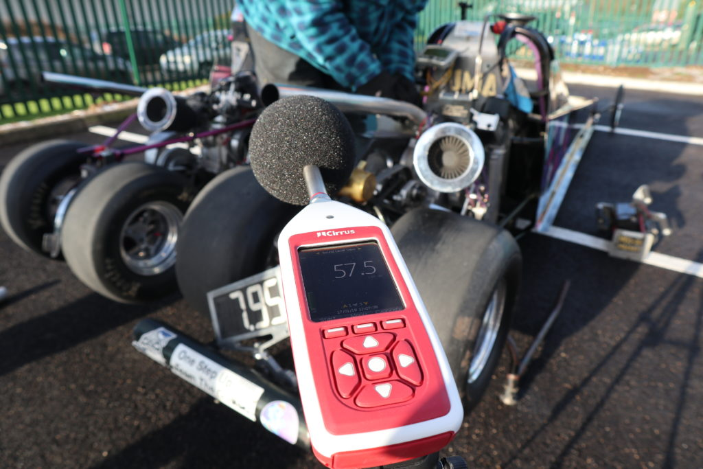 An image of the Cirrus Research Optimus+ Green sound level meter measuring the noise levels of a drag racer.