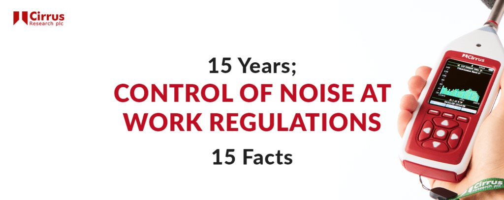 """A title image depicting a Cirrus Research Optimus+ handheld sound level meter, accompanied with the words """"15 Years; 15 Facts. Control of Noise at Work Regulations""""."""